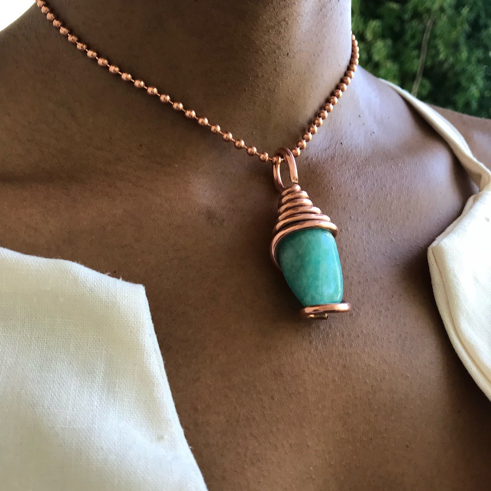 Image of Copper Wrapped Amazonite Necklace
