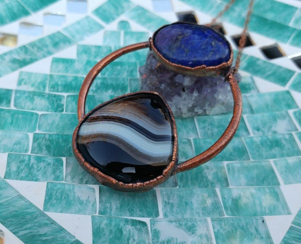 Image of Lapis + Banded Agate Statement Piece