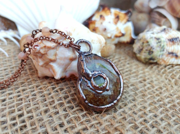 Image of Ammonite + Labradorite Pendant