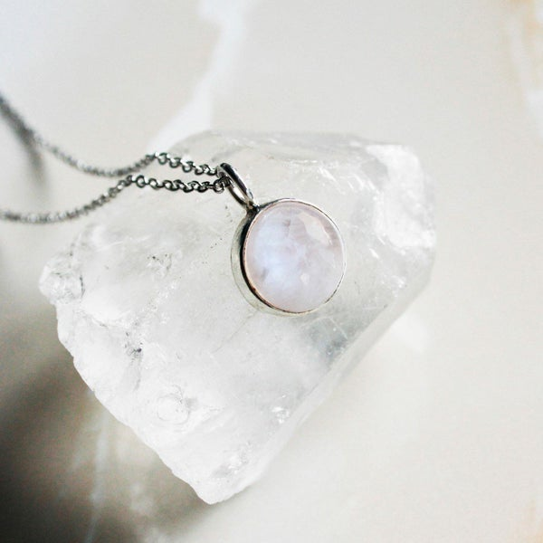 Image of Full Moon Rainbow Moonstone necklace