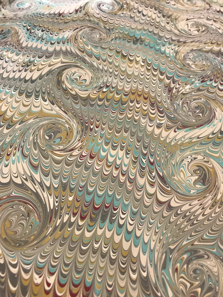 Image of Marbled Paper #44 traditional combed design on fawn