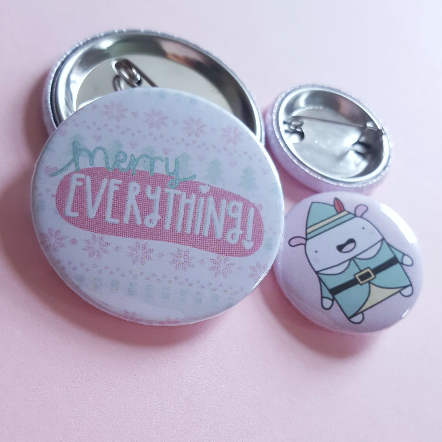 Image of Merry Everything & Buddy the Christmas Elf Critter - Button Badge Set