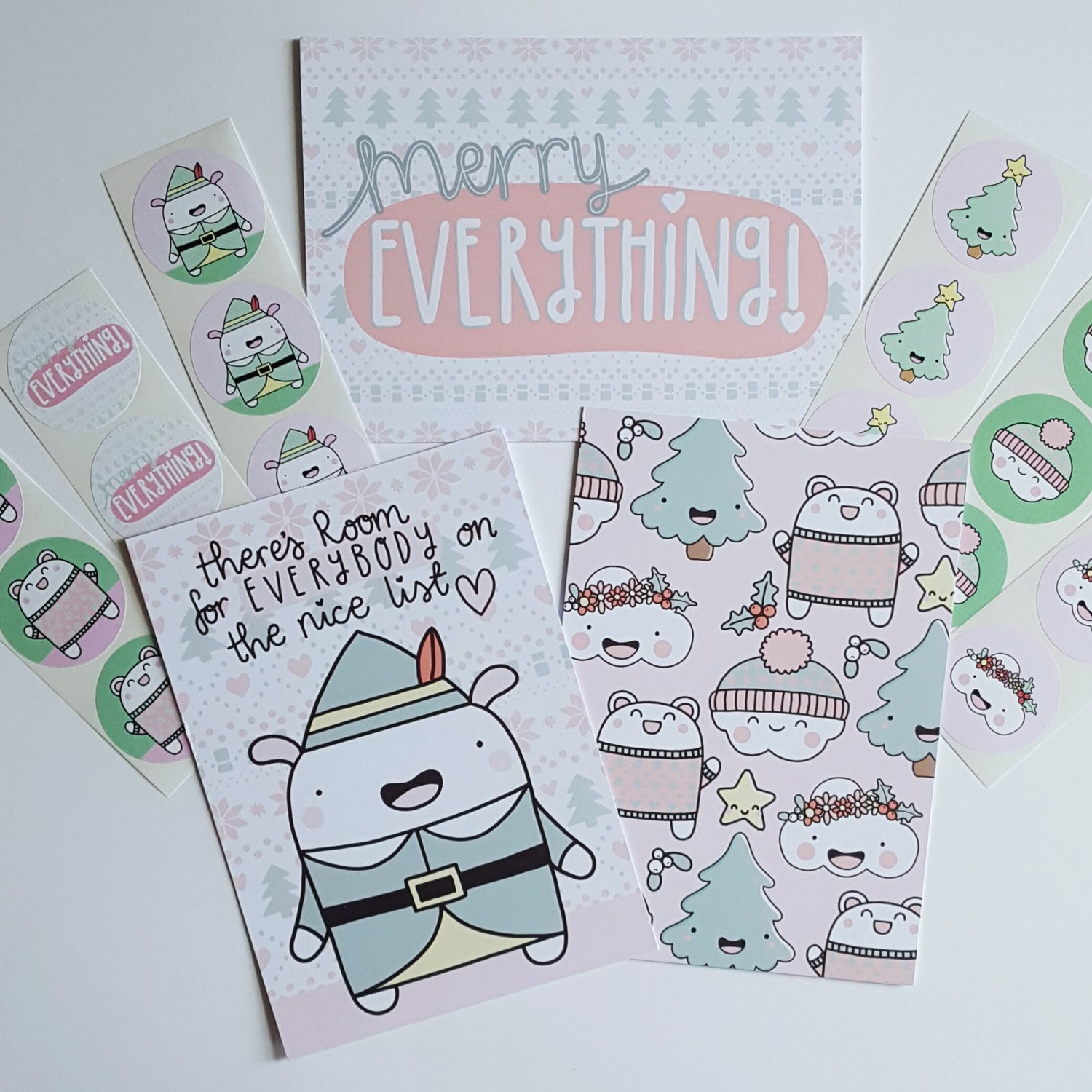 Image of Festive Friends Christmas Postcards & Stickers