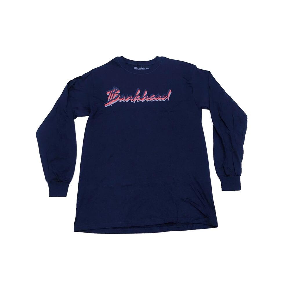"Image of Bankhead signature ""3peat"" Navy Longsleeve shirt"
