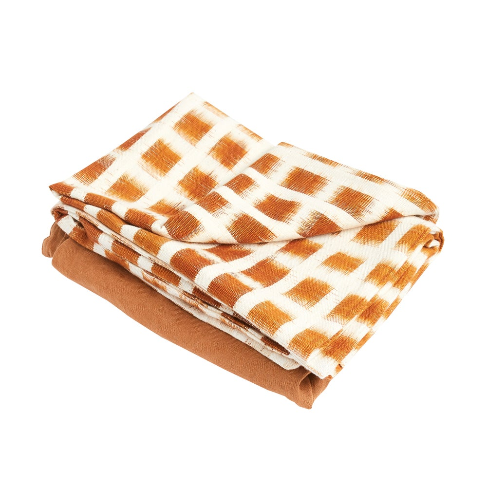 Image of I k a t pillowcase, rust