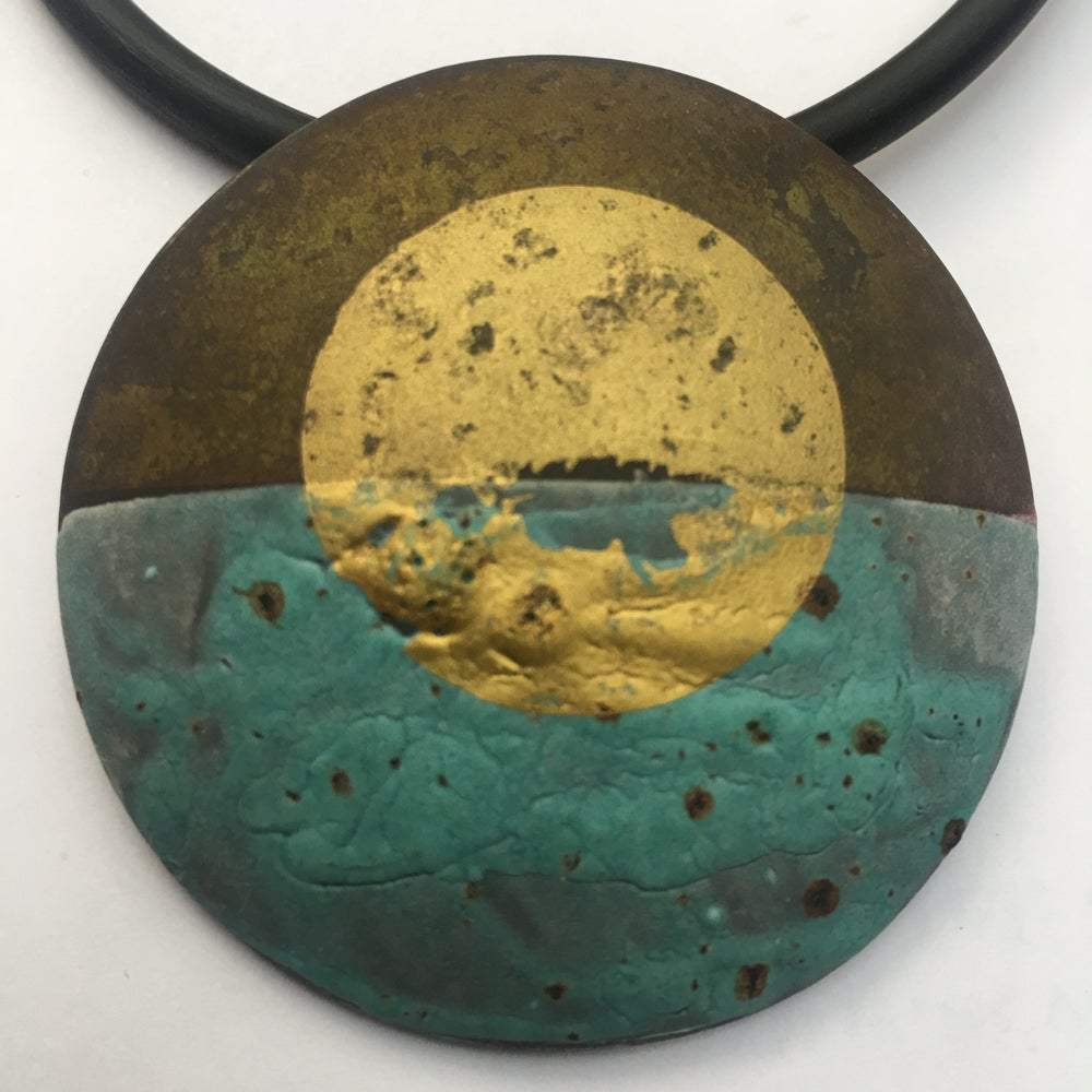 Image of Circle Pendant Turquoise/Gold