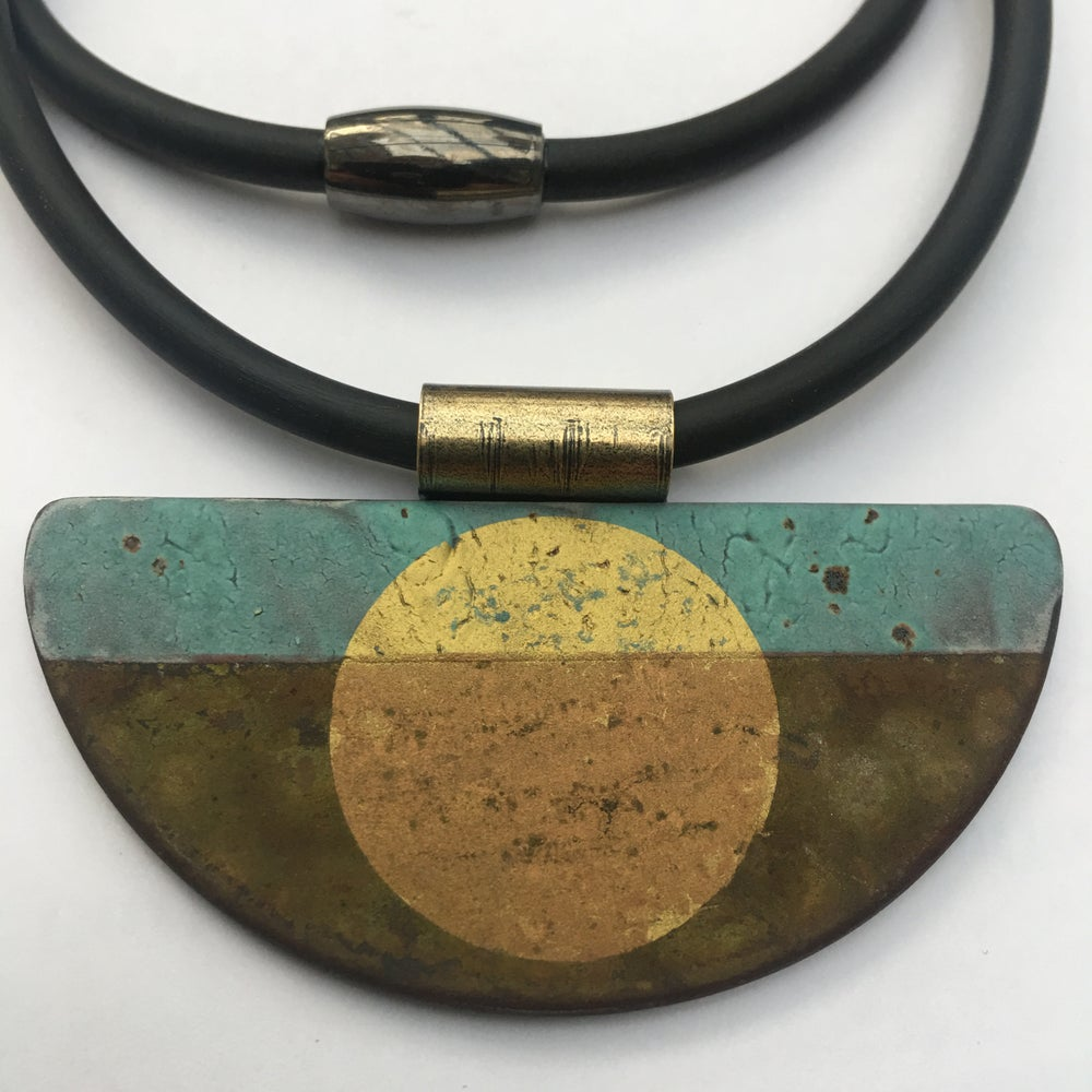 Image of Semi Circle Pendant Turquoise and Gold