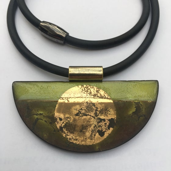 Image of Semi Circle Pendant Lime/Gold