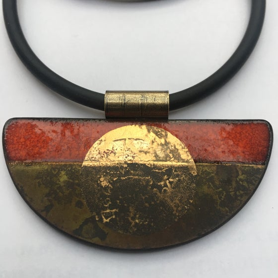 Image of Semi Circle Pendant Red/Gold
