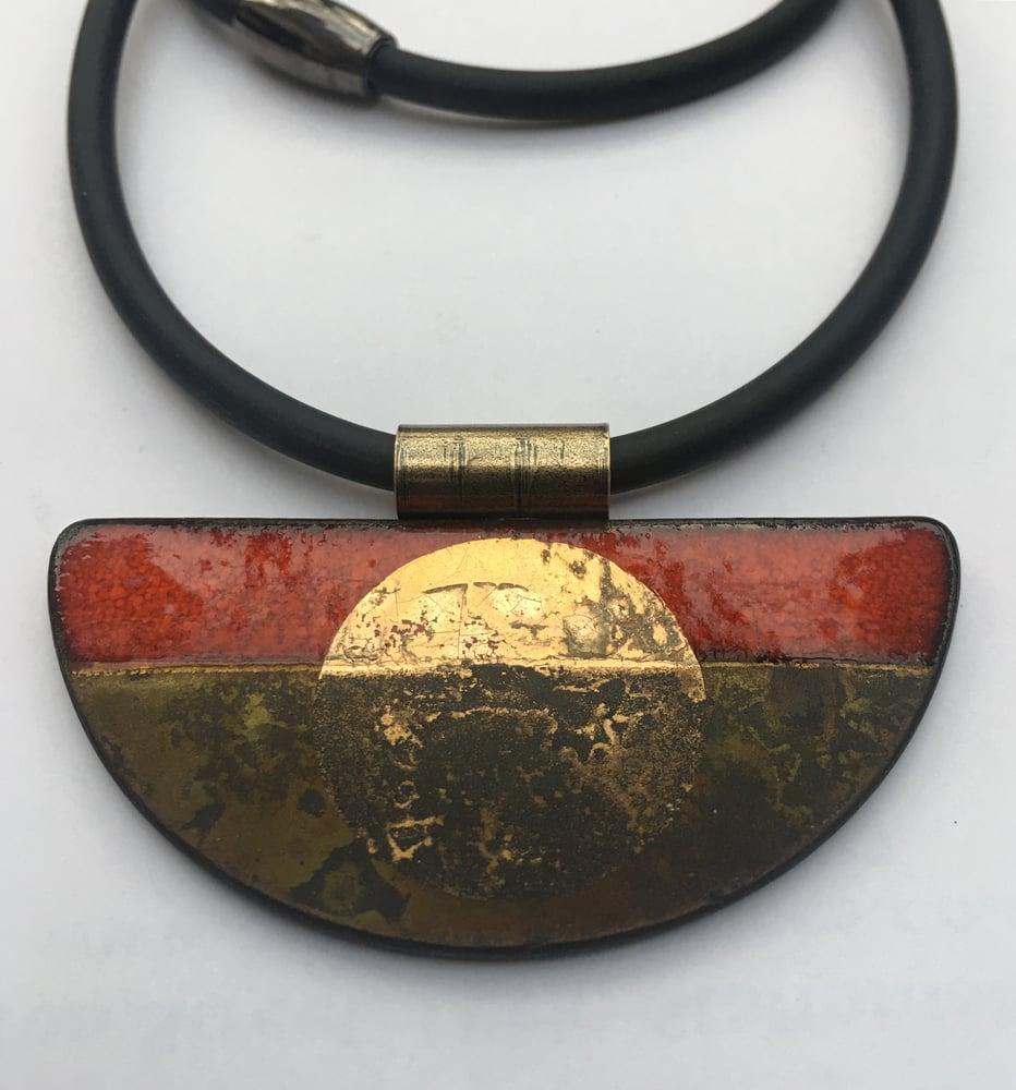Image of Semi Circle Pendant Red/Gold