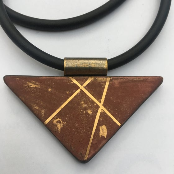 Image of Triangle Pendant brown and Gold