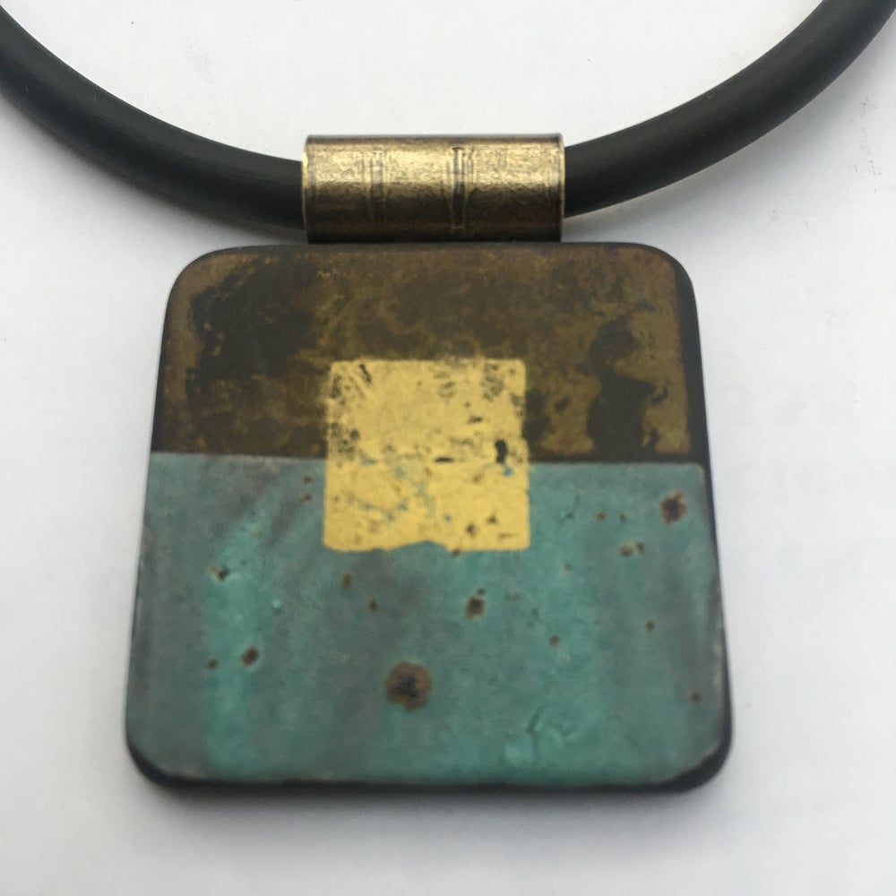 Image of Square Pendant Turquoise and Gold