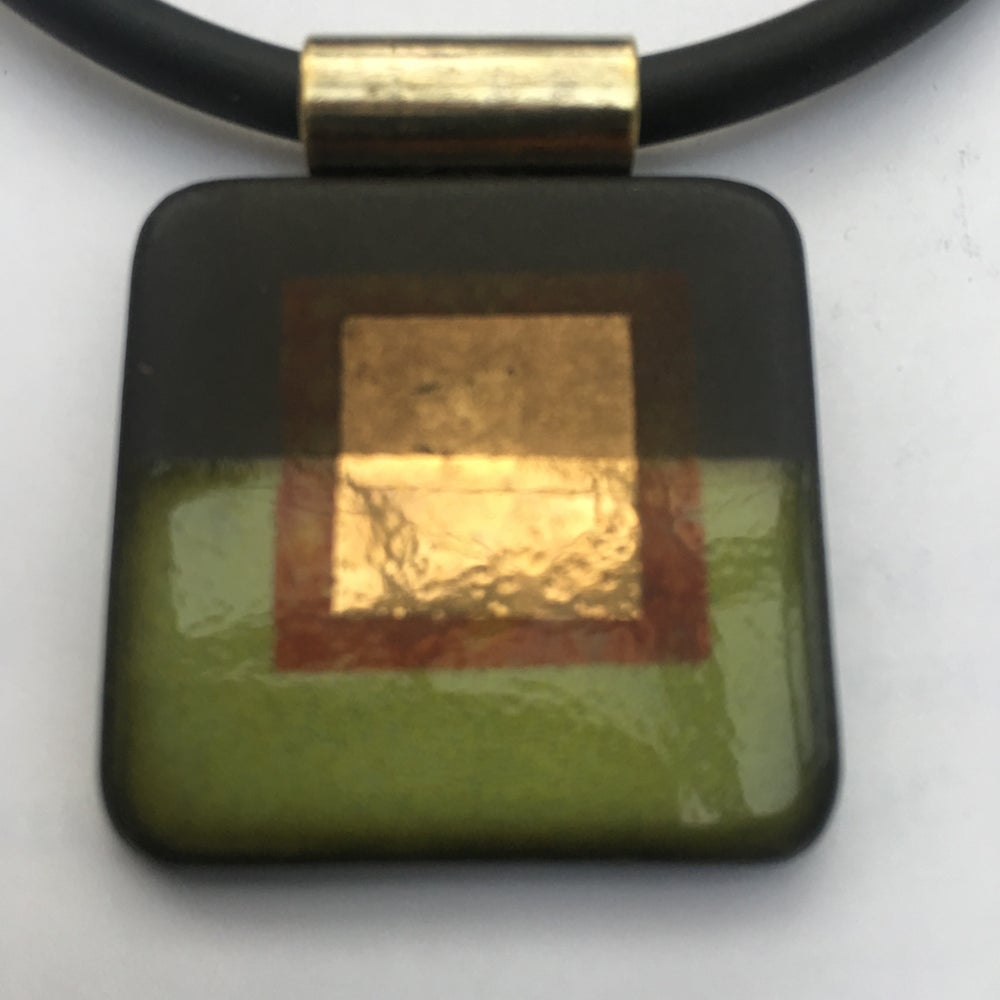 Image of Square Pendant Lime and Gold