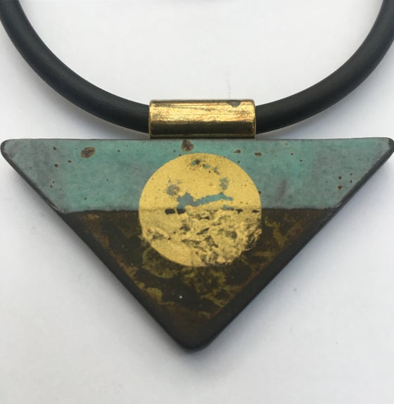Image of Traingle Pendant Turquoise and gold