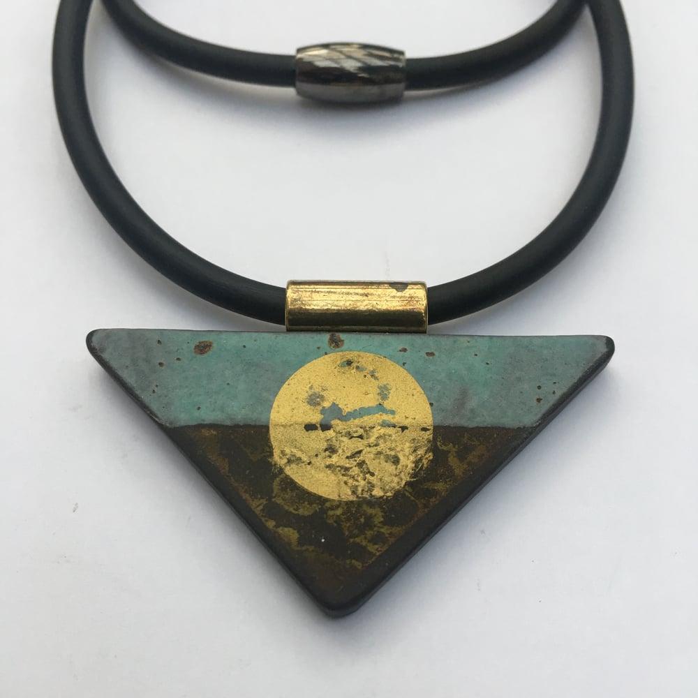 Image of Traingle Pendant Turquoise and gold