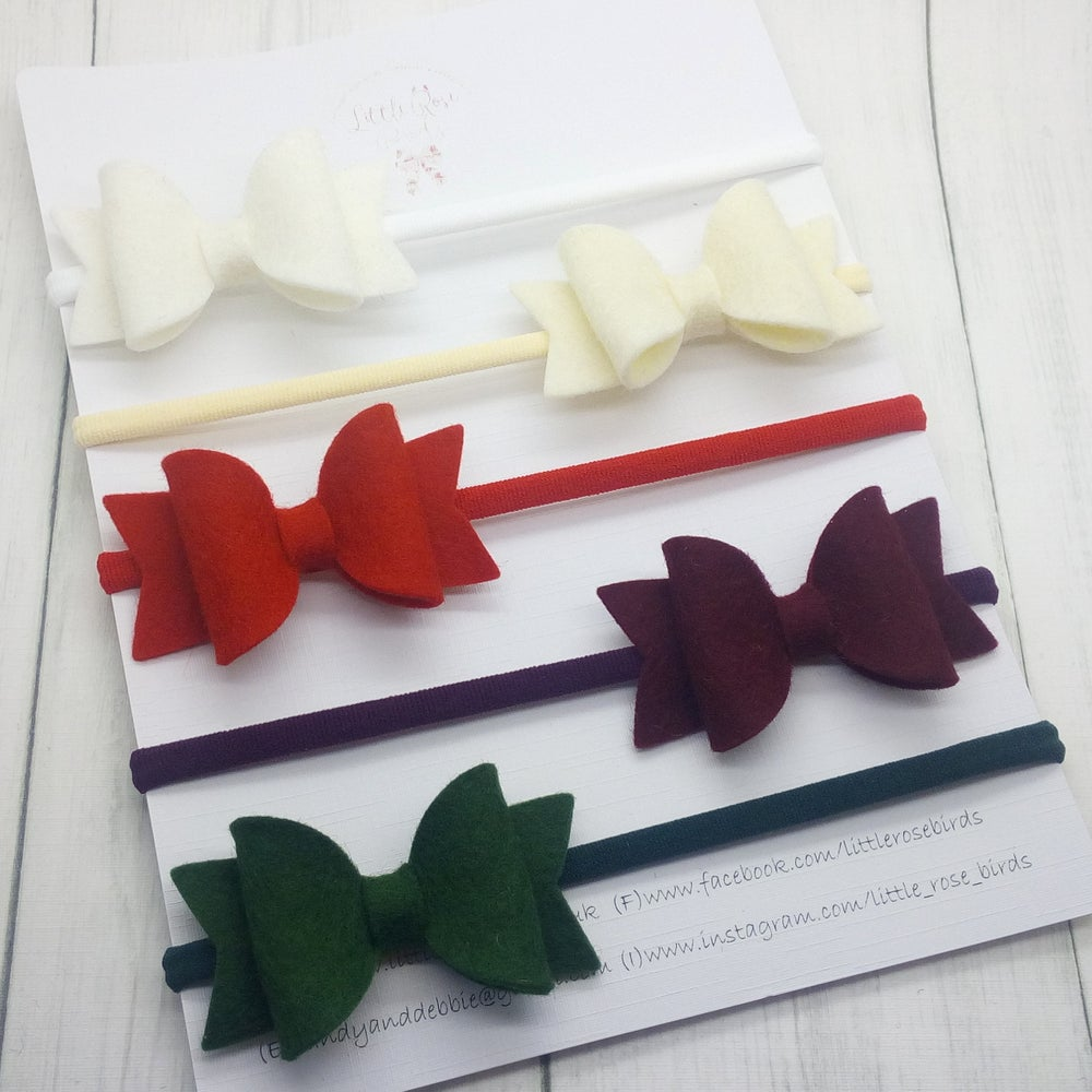 Image of SET OF 5 - Classic Small Bow Set Headbands or Clips