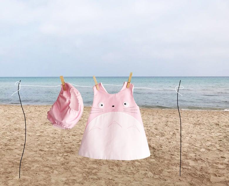 Image of Vestido Totoro en rosa con braguita a juego