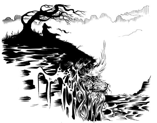 Image of OLD MAN THE ISLAND original inked artwork
