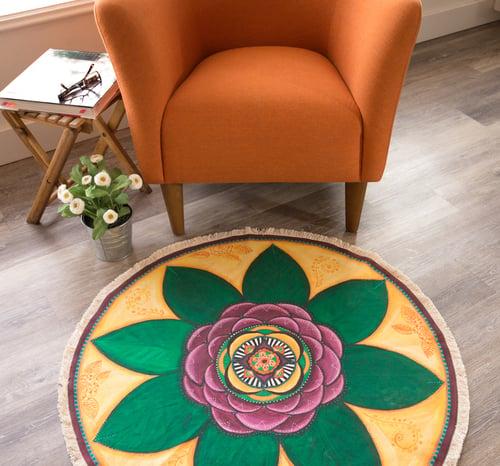 "Image of ""Spiritual connection""- Damask Rose Textile Meditation Mat"