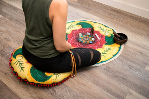"Image of ""Grounded and Confident"" - Mehndi Rose Textile Meditation Mat with fringe"