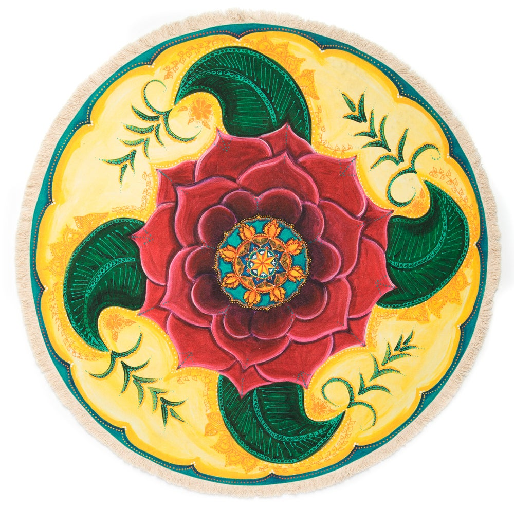 "Image of ""Grounded and Confident"" - Mehndi Rose Textile Meditation mat"