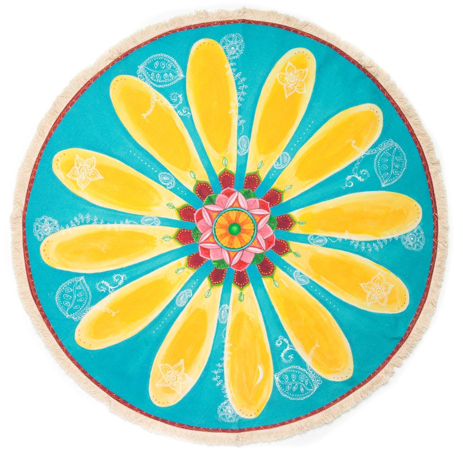 "Image of ""Be Happy""- Yellow Mehndi Daisy Textile Meditation Mat with fringe"
