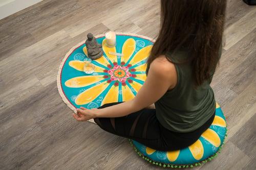 """Image of """"Be Happy""""- Yellow Mehndi Daisy Textile Meditation Mat with fringe"""