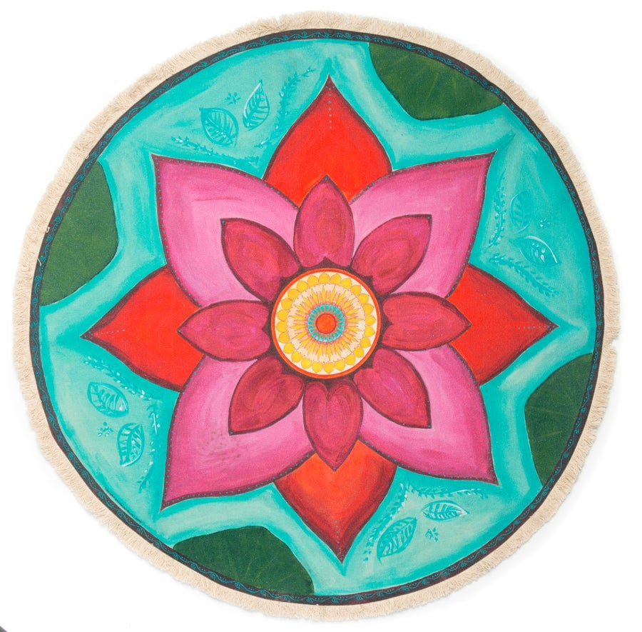 "Image of ""New Beginnings"" - Pink Lotus Textile Meditation mat"
