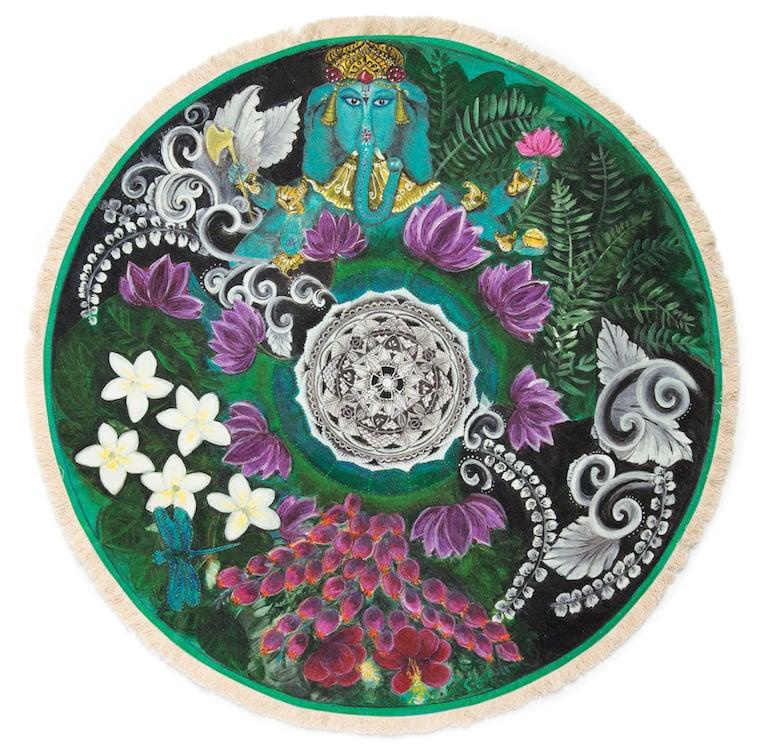 "Image of ""Spiritual Opening"" - Bali Bliss Textile Meditation mat with fringe"