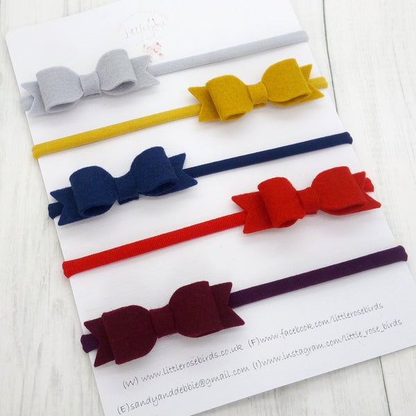"Image of SET OF 5 -  2.5"" Small Bow Set Headbands or Clips"