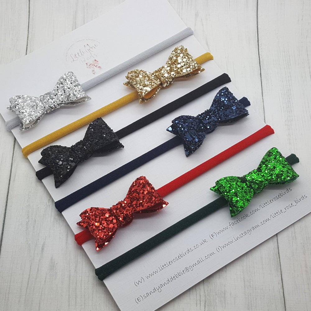 Image of SET OF 6 Glitter Bows Headbands or Clips