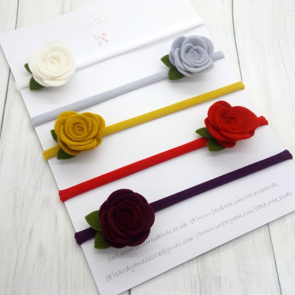Image of SET OF 5 - Christmas Medium Rose Headbands or Clips