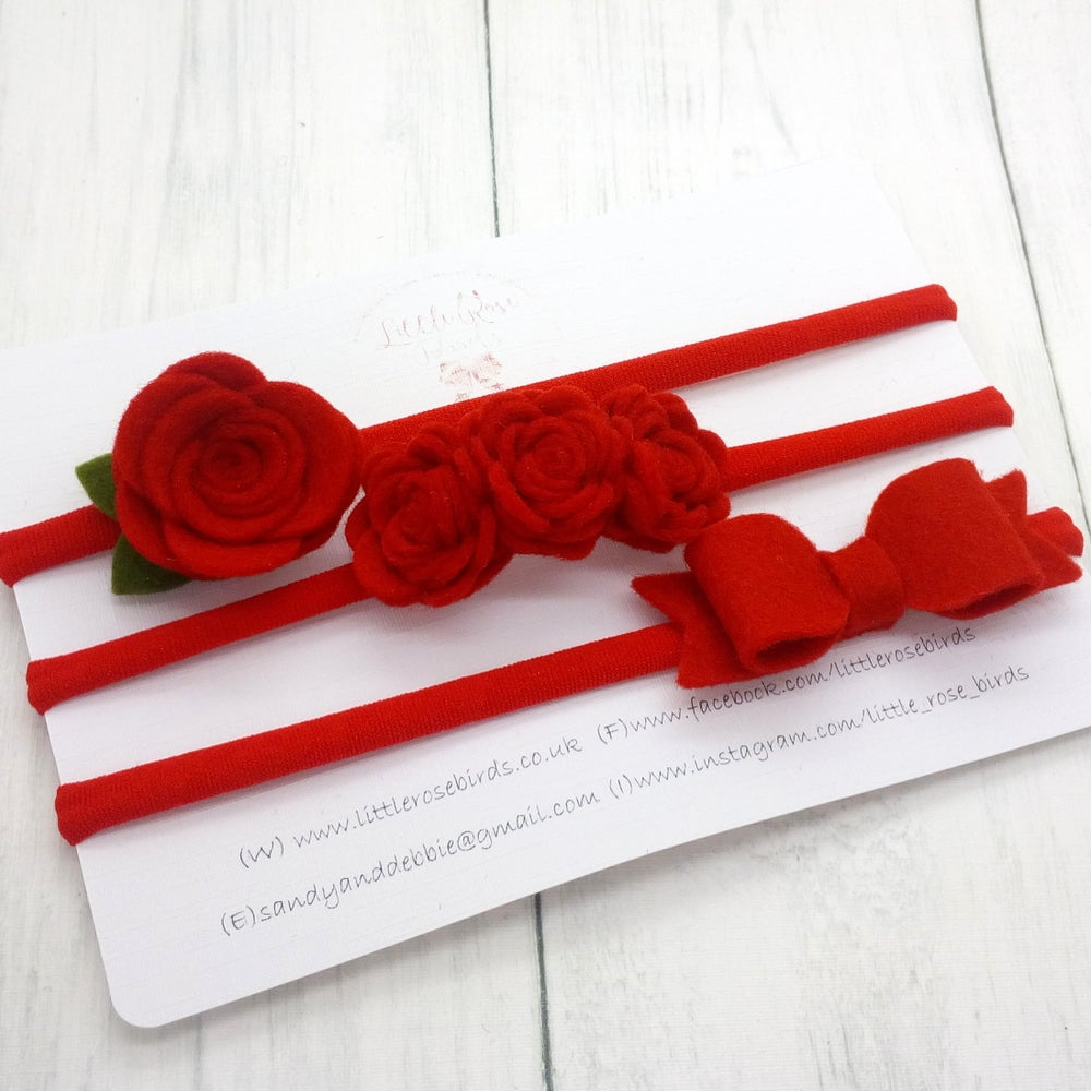 Image of SET OF 3 Red Headband Set