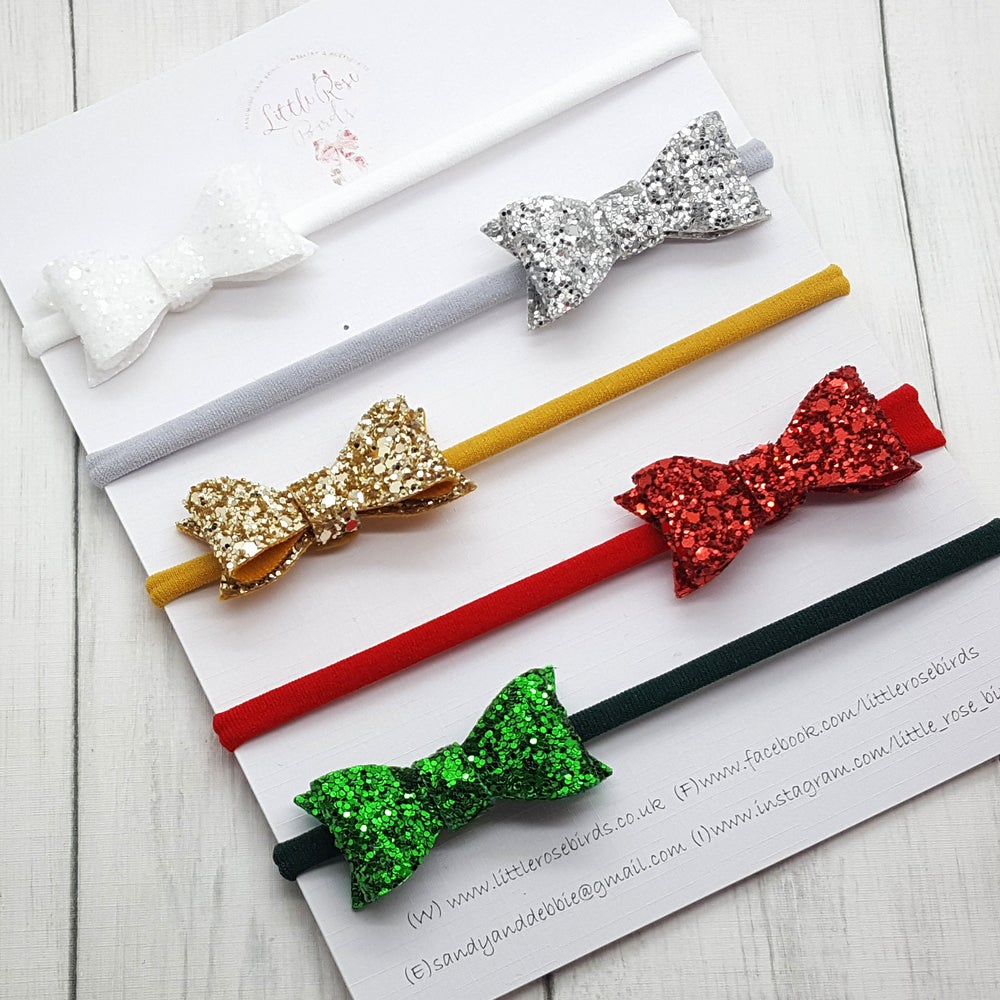 Image of SET OF 5  Christmas Glitter Bows Headband or Clips