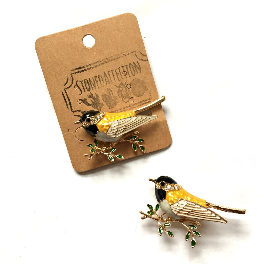 Image of Crystal Bird Enamel Brooch Pin
