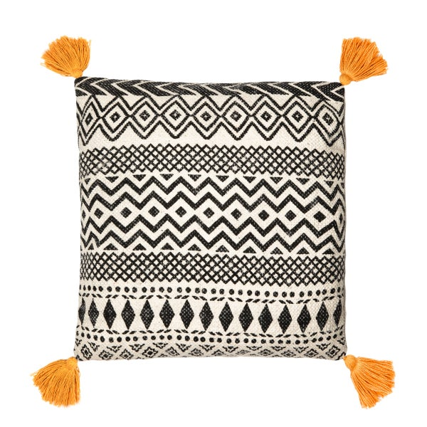 Image of Geometric mustard tassel cushion