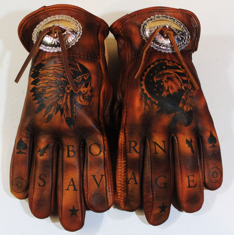 Image of Born Savage custom Concho gloves
