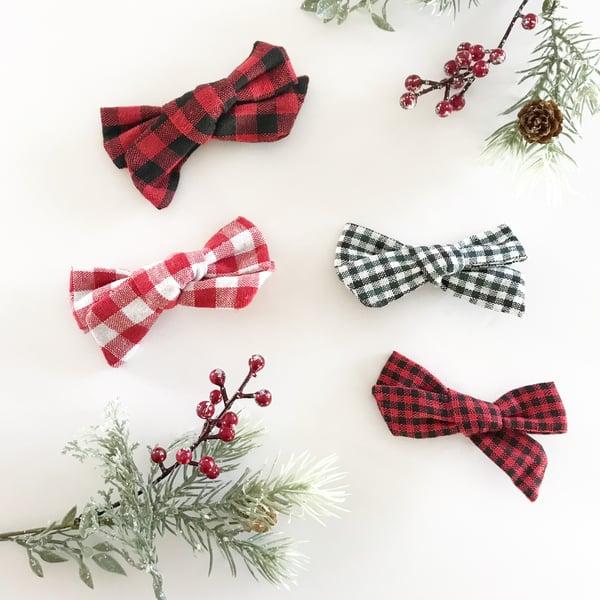 Image of Holiday plaid bows