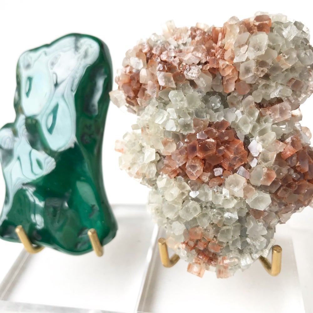 Image of Aragonite no.97 + Lucite and Brass Stand Pairing