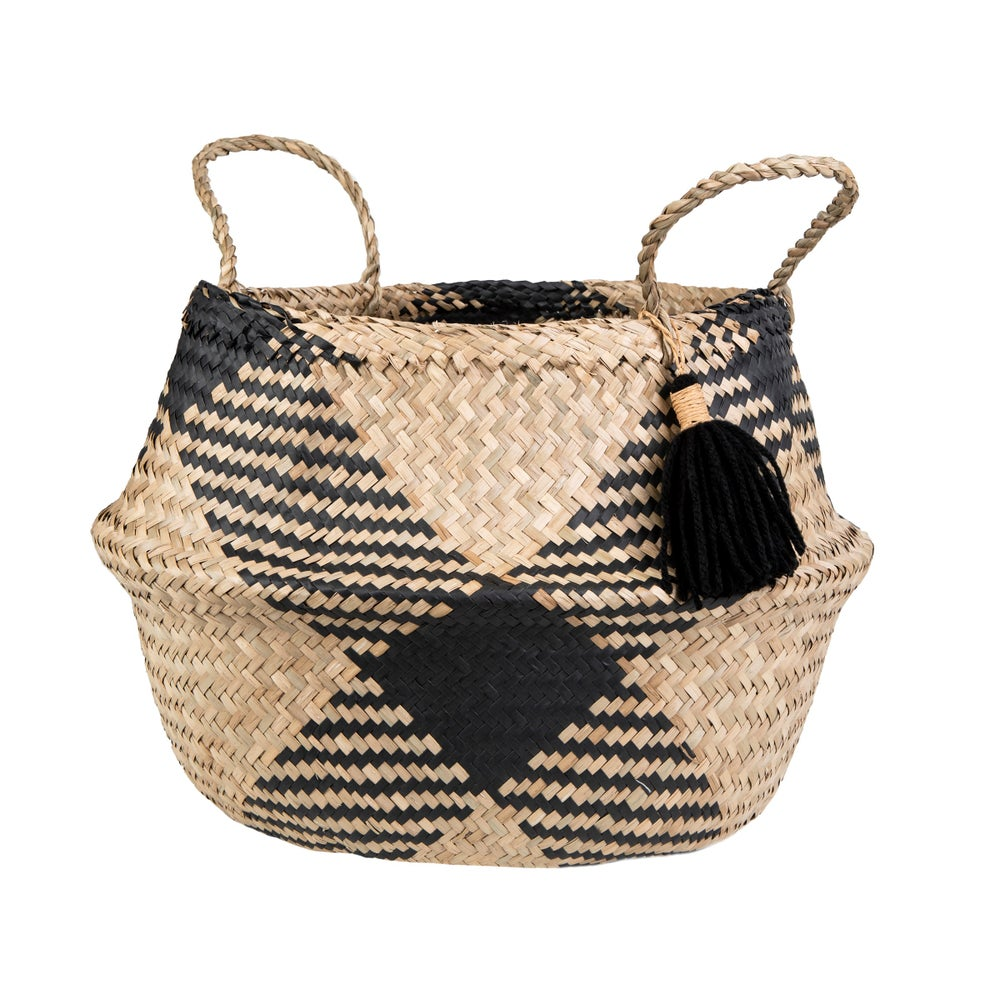 Image of Seagrass pattern basket with tassel