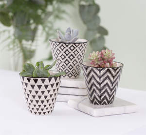 Image of Set of 3 mini geometric pots