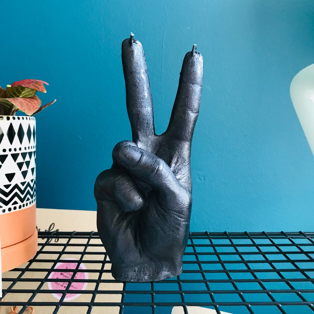 Image of Peace sign candle (or fu#k off if your feeling naughty)