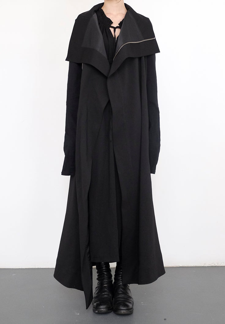 Image of Overlong Funnel Neck Lapel Jacket