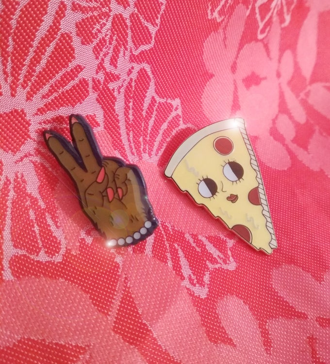 Image of PIZZA AND WEREWOLF ENAMEL PINS