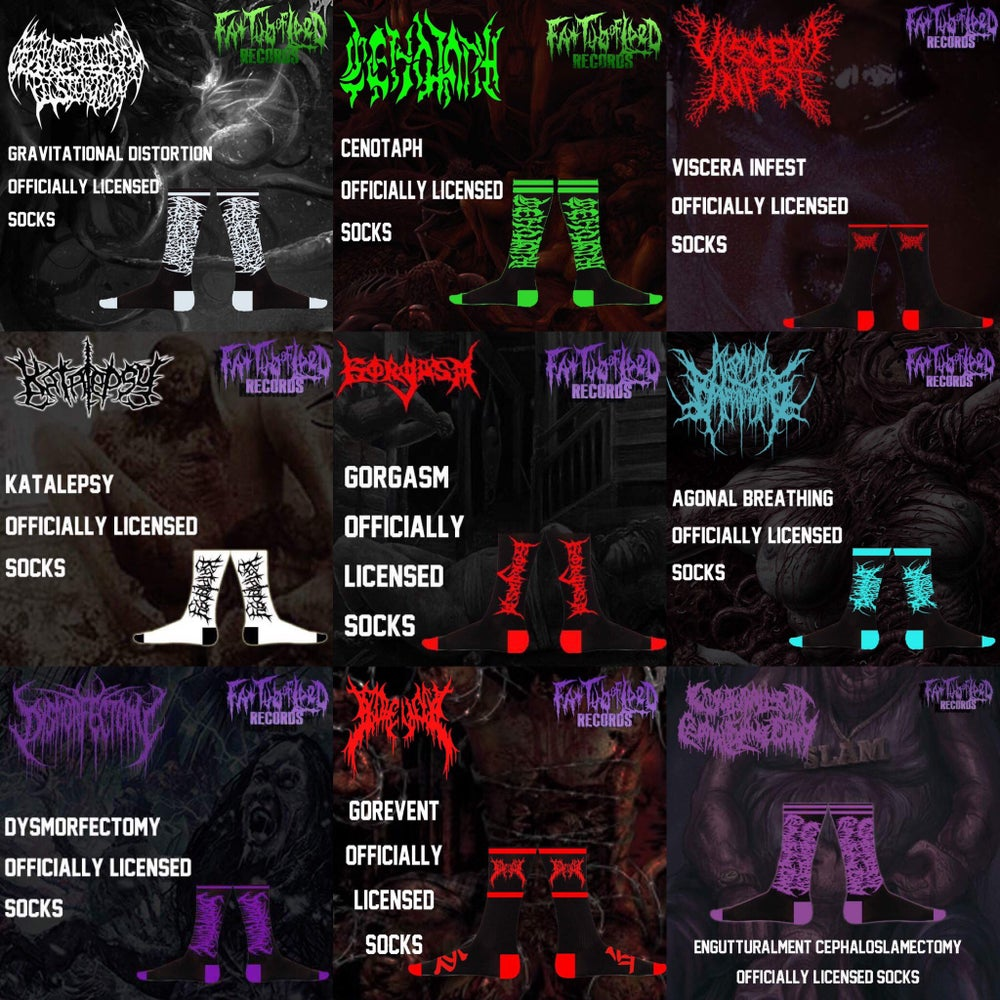 Image of Officially Licensed GD/Cenotaph/VI/Katalespy/Gorgasm/AB/Dysmorfectomy/Gorevent/EC Socks