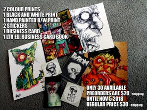 Image of Byron's RANDOM Zombie Cat and prints starter pack preorder