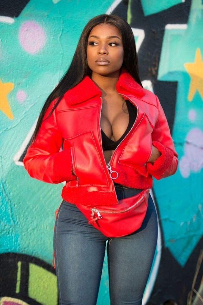 Image of Lady in Red Leather Shearling Jacket