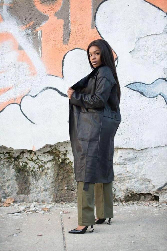 Image of Black Leather Trench