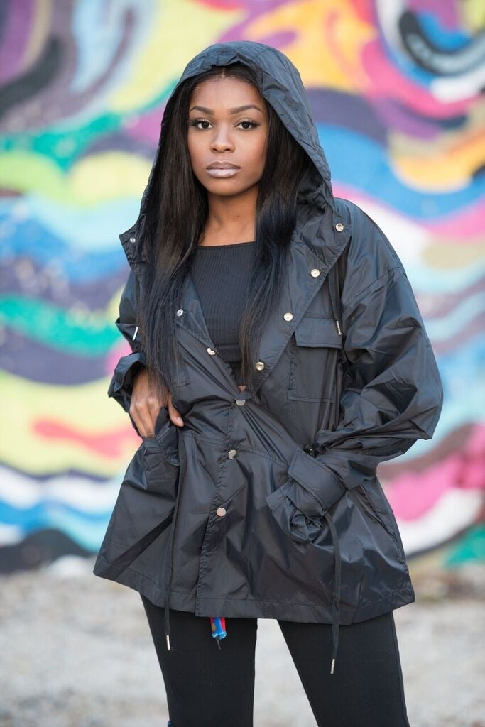 Image of Black Drawstring windbreaker