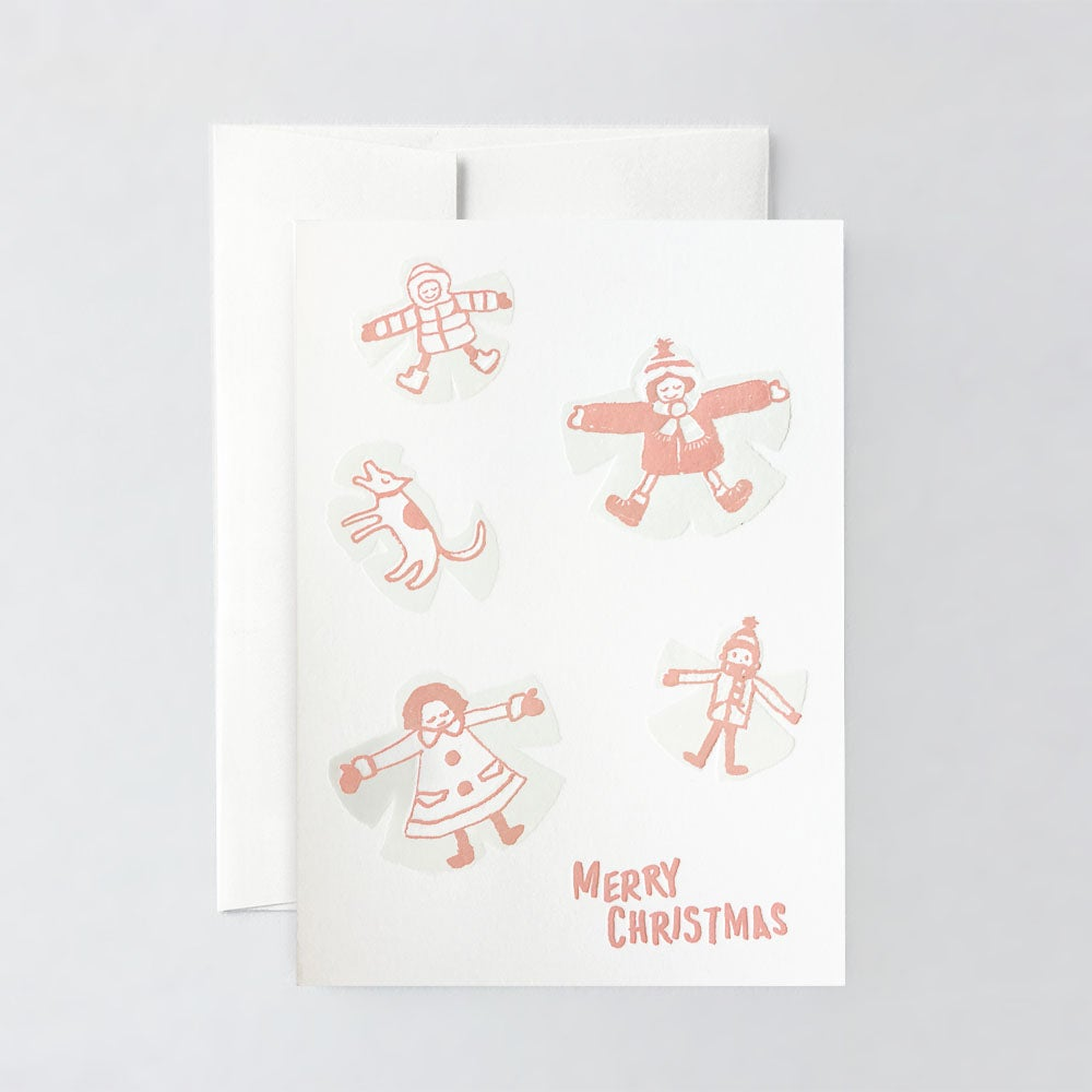 Image of Snow Angels Letterpress Greeting Card